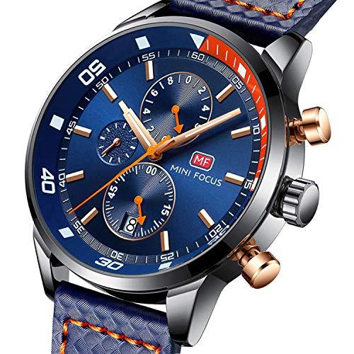 Mini focus orologio uomo orologio da polso analogicoal al quarzo impermeabile luminoso cronografo cinturino in pelle blu orologi per uomo