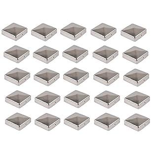 25x Pfostenkappe Edelstahl 91 mm Pyramide Abdeckkappe für Pfosten 9 x 9 cm