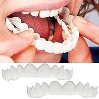 Holeider 2Pcs Prothese Zähne Top Kosmetik Veneer Instant Smile Comfort Fit Flex kosmetische Zähne