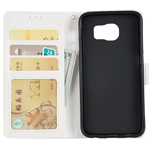 Classic Premiu PU Ledertasche, Horizontale Flip Stand Case Cover mit Cash & Card Slots & Lanyard & Soft TPU Interio Rückseite für Samsung Galaxy S6 ( Color : Black ) White