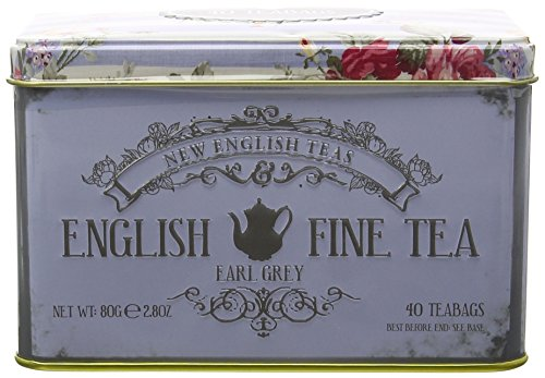 New English Teas Memorabilia Range English Fine Tea 40 Earl Grey Teabag Tin 80 g