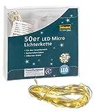 Idena 31825 LED Micro Lichterkette mit 50 LED in warm weiß, mit 6 Stunden Timer Funktion, Batterie betrieben, für Partys, Weihnachten, Deko, Hochzeit, als Stimmungslicht, ca. 5,2 m