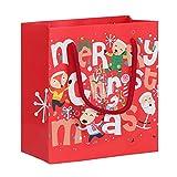Fdit 10 Pcs Sacs Cadeaux Veille De Noël Sacs Présents Impression Pochette en Papier Santa Claus to Gift-Wrap avec Corde à Main pour Bonbons Petits Cadeaux(# 2)