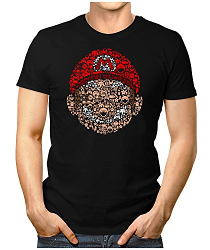 PRILANO Herren Fun T-Shirt - MARIO-SKULL - Small bis 5XL - NEU Schwarz