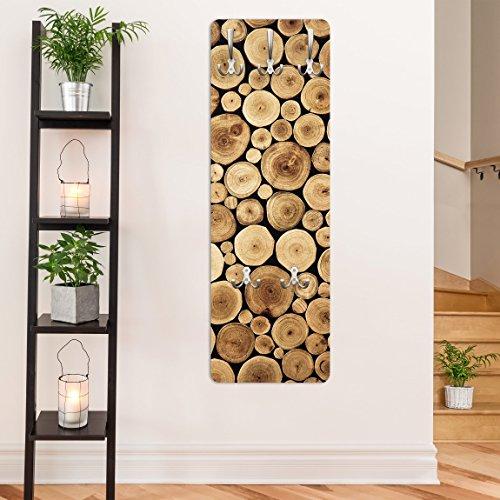 garderobe baumstamm holz Garderobe - Top Holzoptik Garderoben, Größe HxB: 139cm x 46cm, Motiv: Homey Firewood