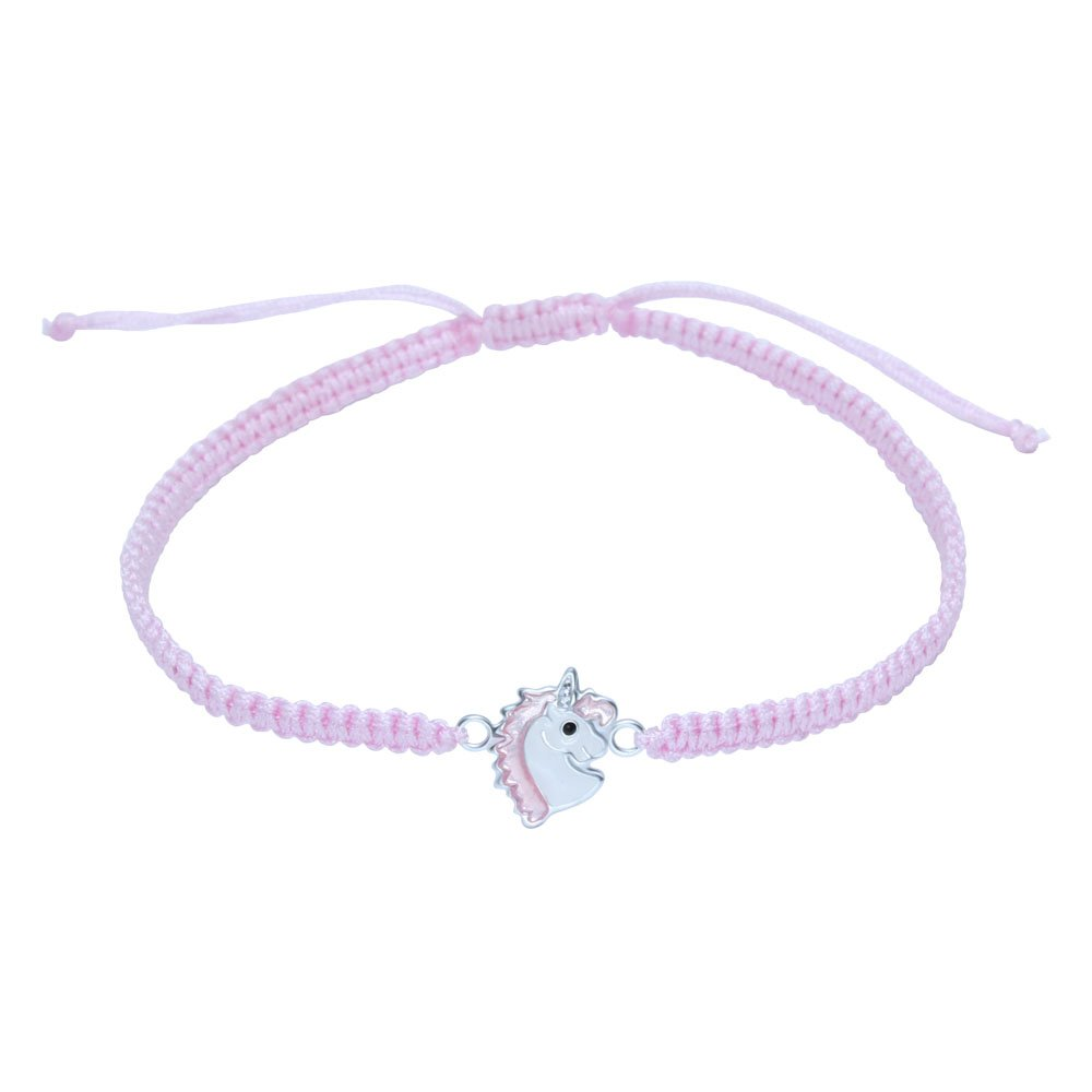 Pink Unicorn Bracelet – Sterling Silver on Cord Gift