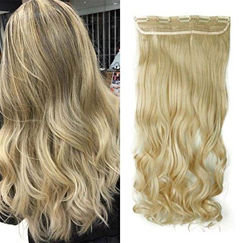 Extension clip capelli lunghi veri mossi [biondo chiarissimo] una ciocca con con 5 clip sintetica ondulata 3/4 full head 130g - 27 inch 68cm