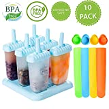 6 Pcs Ice Pop Mould Set and 4Pcs Silicone Popsicle Molds DIY Frozen Ice Cream Pop Molds Ice Lolly Makers