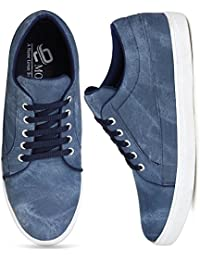 Emosis 1266 Stylish Blue Color Office Party Wear Canvas Casual Sneaker Lace-Up Derby Shoe For Men