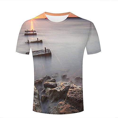 Herren Crewneck 3D Print T-Shirt Seaside Sunrise on sea Creative Graphic Short Sleeve Tee Top Shirts S