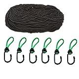 Filet de remorque 125x 210cm Extensible jusqu'à 200x 300cm avec Expander Crochets de Fixation, iapyx® (Noir Plus)