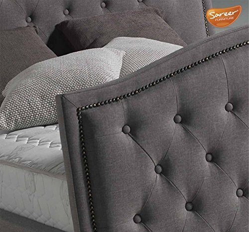 Sareer Marcell Luxury Studded Fabric Bed Frame - Double 4ft6 - Grey