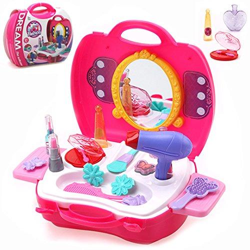 Buyger 21 Stücke Kunststoff Kinder schminkset Schminksachen Schönheit Prinzessin Mädchen koffer Rollenspiel Spielzeug Pretend Makeup kit (Make-up-kit Kinder Für)