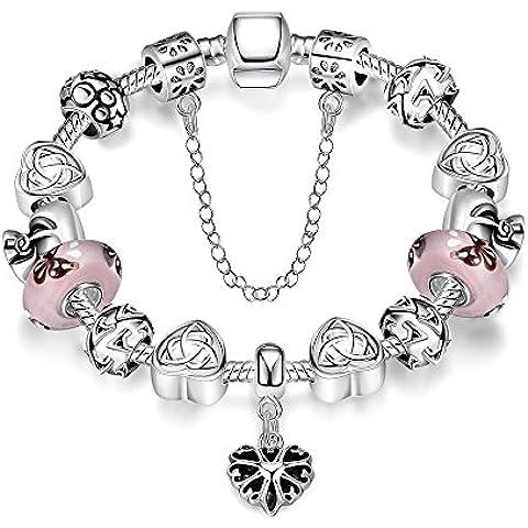 Gorgeous joyería mano tallado flor plata patrón de corazón colgante Pandora pulsera de cristal