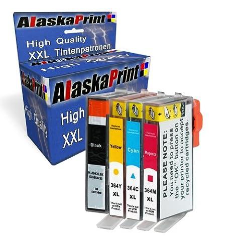 Alaskaprint Refilled Cartouches d'encre Remplacement pour hp 364 XL Pour Photosmart 7510 6520 6510 5524 5522 5520 5514 5515 5510 b110 7520 Officejet 4620 4622 Deskjet 3070A 3524 3522 3520 (Noir, Cyan, Magenta, Jaune