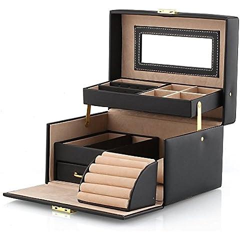 Nero Faux Leather Organizer per gioielli scatola display per anelli, orecchini, collane, braccialetti e altri oggetti - Floccato Collana
