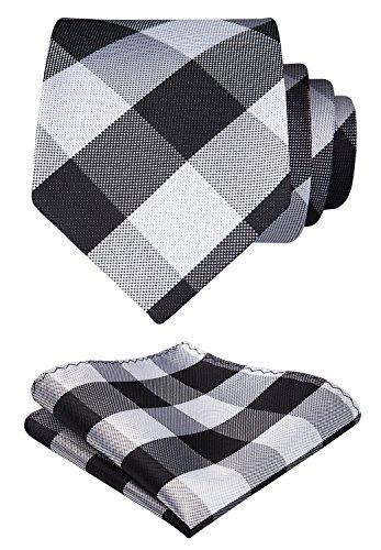 Hisdern Herren Krawatte Taschentuch Check Krawatte & Einstecktuch Set Weiß schwarz