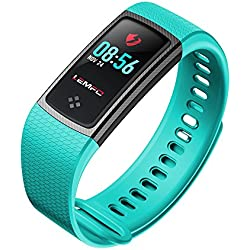Desconocido LEMFO LT01 - Pulsera de Fitness con Pantalla LCD a Color IP67 (Impermeable, Monitor de Ritmo Cardíaco, Actividad de Actividad), Color Azul