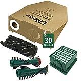 34 tlg Spar Angebot 30 Staubsaugerbeutel Filter Set und Bürsten passend für Vorwerk Kobold VK 130 , Kobold VK 131 und 131 SC mit EB 350 / EB 351