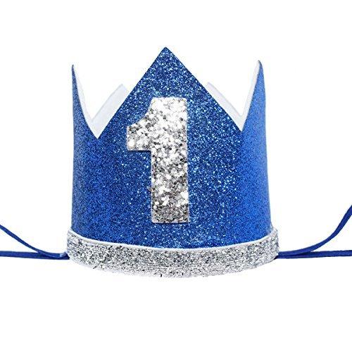 Maticr Unisex - Kinder glitter baby-erster geburtstag crown nummer 1 stirnband kleiner prinz prinzessin kuchen smash foto-stütze klein großes gold & royal 1 (Baby Prinz Outfit)