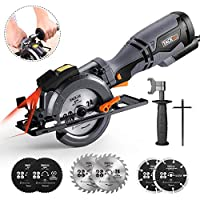 Mini Circular Saw, TACKLIFE Compact Circular Saw 710W 3500RPM with Metal Handle, 6 Blades (120mm & 115mm), Laser Guide, Cutting Depth: 90° (46mm), 45° (35mm), 3 Meter Cord Length - TCS115A