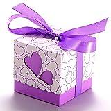 JZK® 50 x Lila Herz Papier Party Bevorzugungskasten Geschenkbox für Bevorzugungen, Süßigkeiten, Konfetti, Geschenke. Schmucksachen für Hochzeits geburtstag Babyparty Heilige Kommunion Weihnachten (Lila Herz)