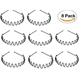 TKOnline 8PCS Unisex Girl Men's Black Spring Hair Hoop Band Wavy Metal Hoop Hair Band Head Band Accessory