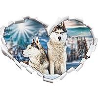 Due selvatici Huskies a forma di cuore in formato sguardo, parete o adesivo porta 3D: 62x43.5cm, autoadesivi della parete, decalcomanie della parete, decorazione della parete