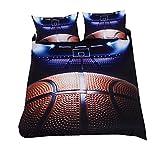 Sticker superb Bettbezug Set 3D Passion Ball Hot Design Bettwäsche Set 3 Teilig mit Kissenbezügen Bettbezug Set mit Verdecktem Reißverschluss (Basketball 2, 220 * 240cm)