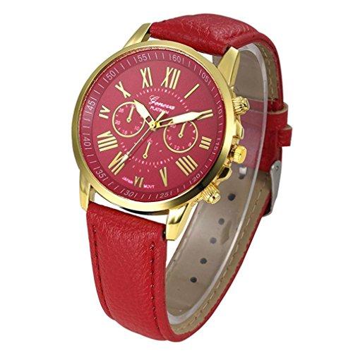 Damen Uhr, Frauen Fashion Genf römischen Ziffern Kunstleder Analog Quarz Armbanduhr, rot, M -
