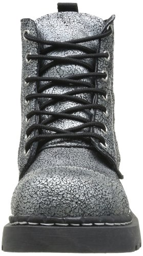 T.U.K. Anarchic Combat, Boots femme Noir (Black Silver Overpaint 7 Eye)