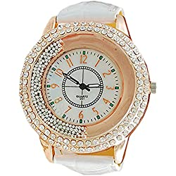 Fashion Womens Faux Leather Strap Shinning Rhinestones Quartz Watch Ladies Dress Watches