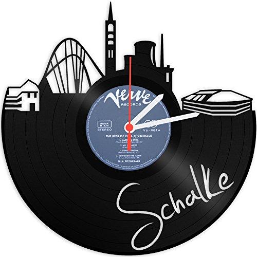 Skyline Schalke Wanduhr aus Vinyl Schallplattenuhr Upcycling Design-Uhr Vinyl-Uhr Wand-Deko Vintage-Uhr Wand-Dekoration Retro-Uhr Made in Germany