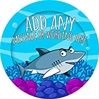 Shark Sticker Labels Personalised Custom Seals Ideal for Party Bags Sweet Cones Favours Jars Presentations Gift Boxes Bottles Crafts