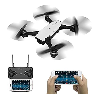 Foldable RC Drone With Camera Live Video, WIFI FPV Quadcopter Drone With 2.0MP 720P Camera Mobile APP Control Altitude Hold Mode Selfie Pocket Quadcopter RTF Best Gift