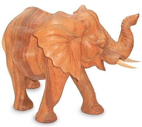 Deko Figur Elefant stehend aus Soar Holz braun, Höhe 25 cm groß, Holzfigur Krafttier im Afrika Stil Kunsthandwerk aus Bali handgefertigt