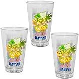 Unbekannt 6 TLG. Set - Trinkgläser -  Cuba - Havana  - 310 ml - aus Glas - Gläserset - Cocktailgläser - bunt / Sommergläser - 6 teilig - Partybecher - Partygläser - P..