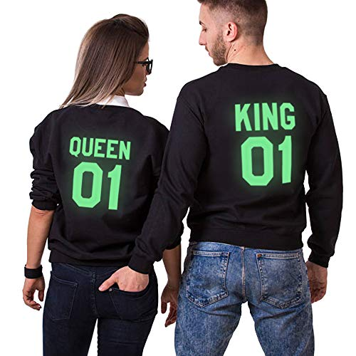 King Queen passende Paar Fluorescent Pärchen Pullover Hoodie Set Liebespaar Luminous Sweatshirt Glühender Pulli Halloween Fun-Bekleidung 2 stücke(Schwarz,King-L+Queen-L)