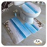 Badezimmer Teppich Set, 3 PCS Badematte Rutschfest Bad Teppich+U-förmigen Pedestal Teppich+Toiletten Abdeckung Seestern Blau, Teppich-Matte