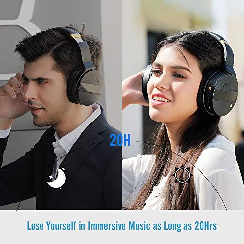 Meidong Duale Aktive Noise Cancelling Kopfhörer Bluetooth, Noise Cancelling Headphone overear Kabellose Kopfhörer mit Mikrofon HiFi Stereo Deep Bass Gemütlich Earpads bis zu 20 Std [Schwarz] - 5