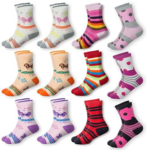 Mctam Mädchen Socken Damen 12er Pack 90% Baumwolle Mix Motiv, 35-38, 12x Mädchen Lang 2
