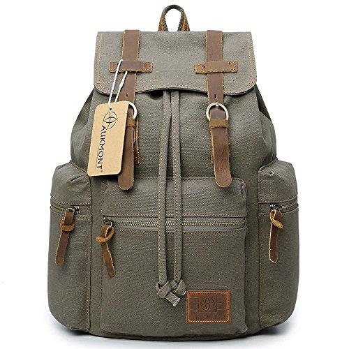 AUKMONT Vintage Canvas Rucksack Uni Tasche Damen Herren Backpack Laptop bis us 14 Zoll Outdoor Daypack Schulrucksack für Campus Reisen Wandern