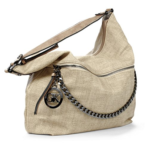 Lovely Lauri Vintage Hobo Bag Handtasche Kette Beuteltasche Canvas Style Beige Beige