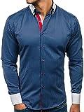 BOLF Herren Hemd mit Knopfleiste Elegant Gestreift Langarm Slim Fit 2790 Dunkelblau M [2B2]