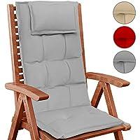 Jago – Cojín para silla de jardín con respaldo alto – en juego de 1 pieza de color gris
