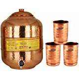 Taluka Handmade Healthy Pure Copper Matka Water Pot Pitcher Pot Water Tank Capacity :- 6000 ML With 3 Copper Glass 300 ML For Water Drinking And Storing Purposes Healthy Habits Ayurvedic Benefits Weight :- 1350 Grams