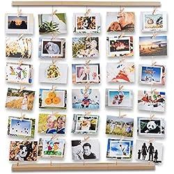 Uping Cadre Photo Pêle-Mêle Cadre Photo Mural avec Corde et Porte Photo Pinces, Décoration Maison Mariage Anniversaire et Cadeau (Couleur de Bois Naturel)