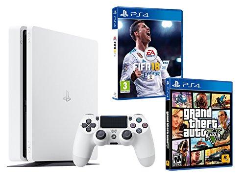 Sony tabZ4_3 Blanche 500Go FIFA 18 + GTA V (V Gta Für Ps4-bundle)