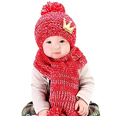 Cute Hats,Tefamore Winter Baby Kids Girls Boys Warm Woolen Coif Hood Scarf Caps (Red)