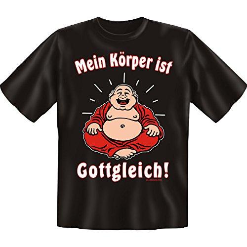 Mein Körper ist Gottgleich - Sprüche Fun T-Shirt - für Selbsbewusste - Gr: L Farbe: schwarz : ) (Ringer T-shirt Kostüm)